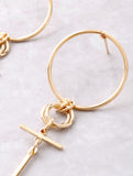 Double Loop Drop Earring Anarchy Street Gold - Details