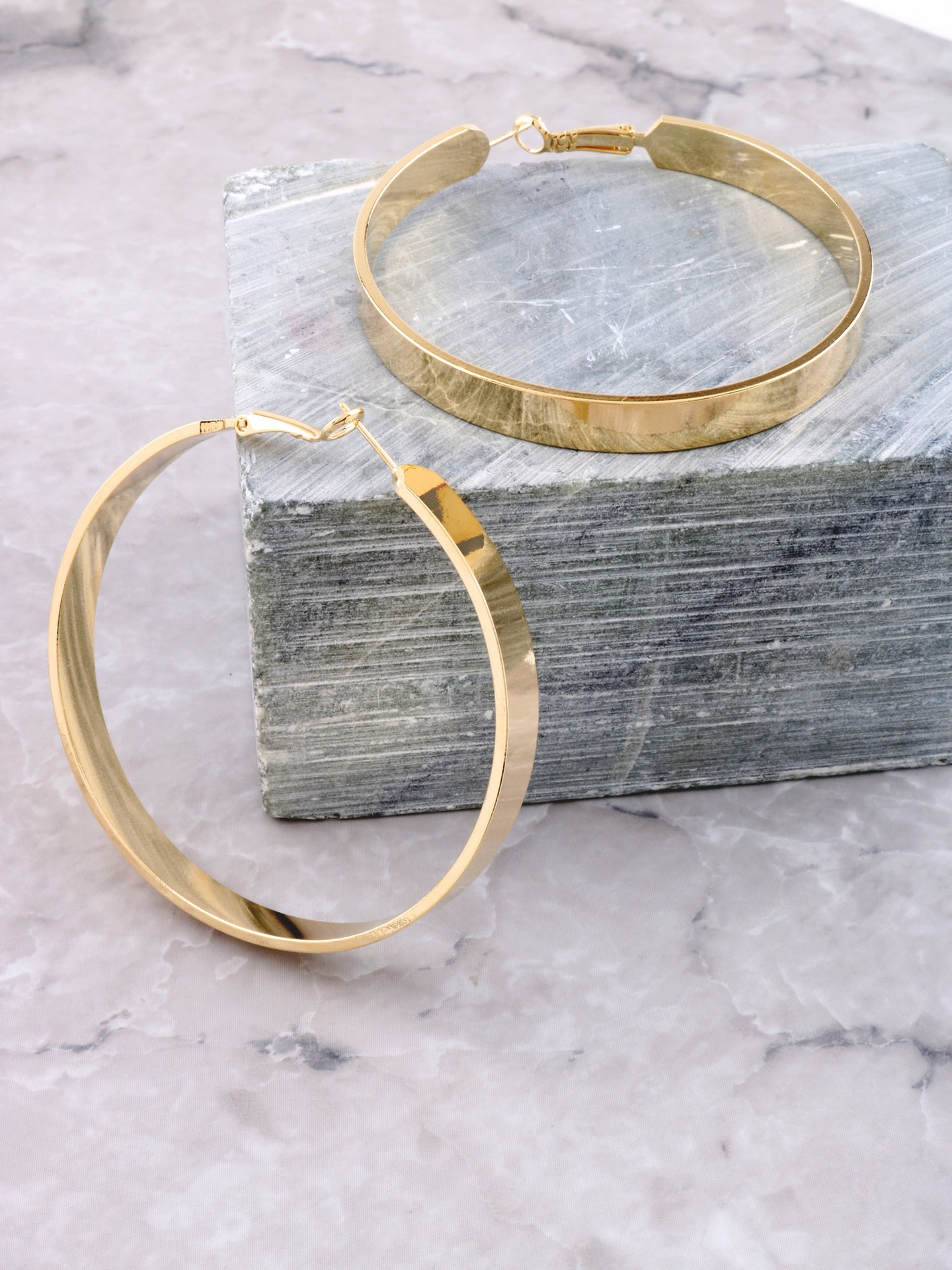 Large Flat Out Hoops Earrings Anarchy Street Gold