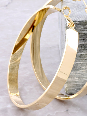 Large Flat Out Hoops Earrings Anarchy Street Gold - Details