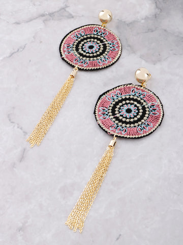 Patch Chain Earrings Anarchy Street Pink