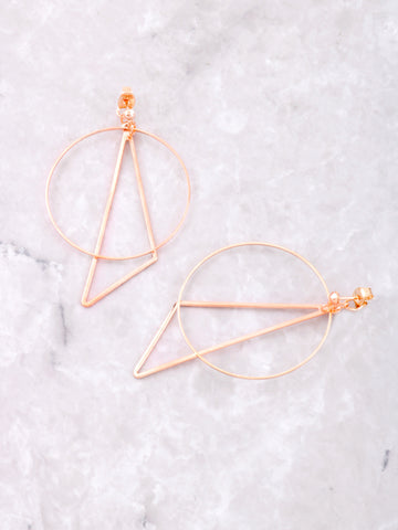 Geometric Drop Earrings Anarchy Street Rosegold