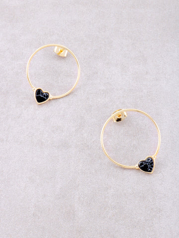 Dainty Love Loop Stud Earrings Anarchy Street Black - Details