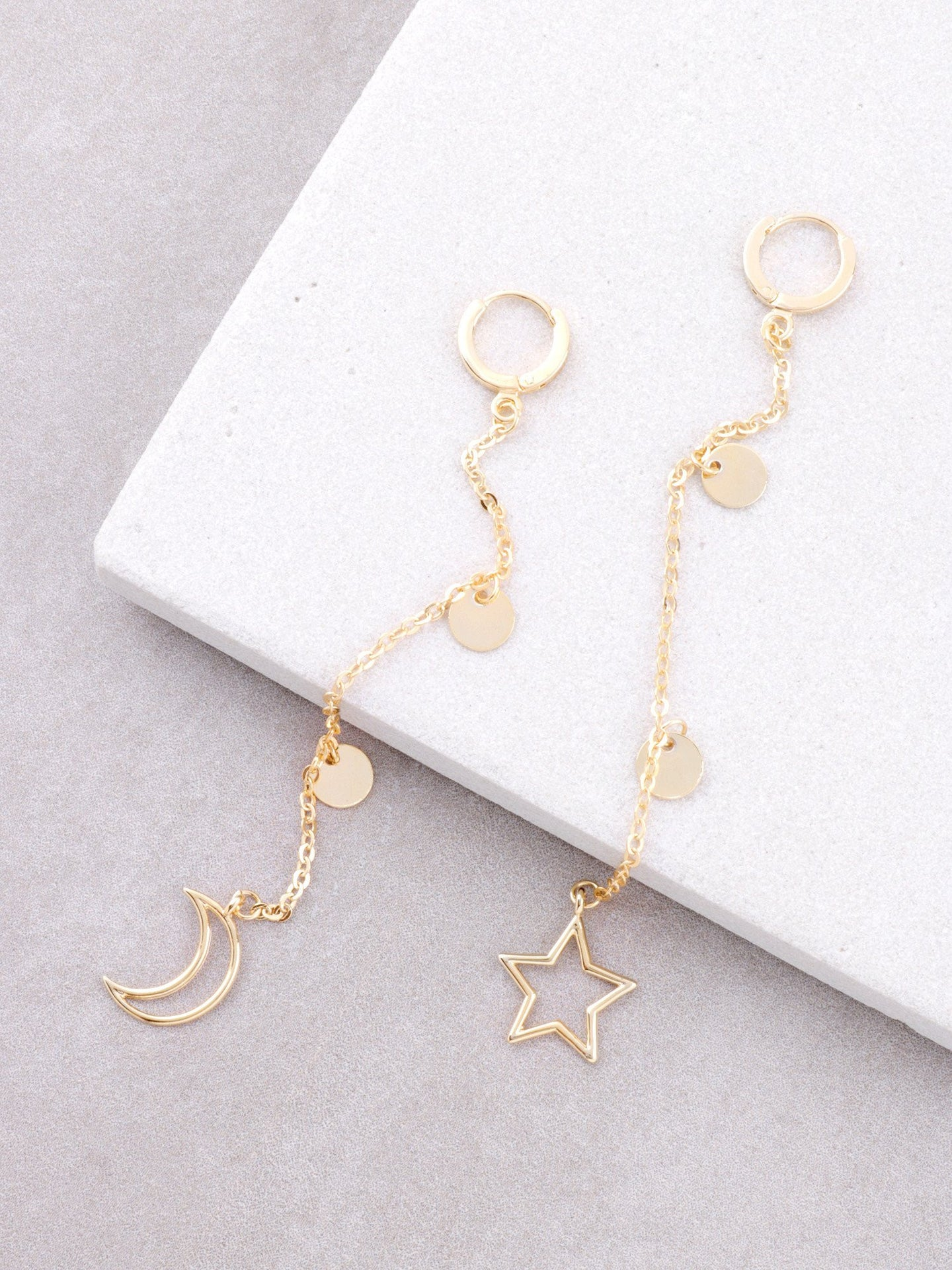 Moon Disk Hoop Huggie Earrings Anarchy Street Gold