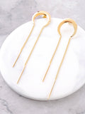 Crescent Chain Bar Earrings Anarchy Street Gold - Details