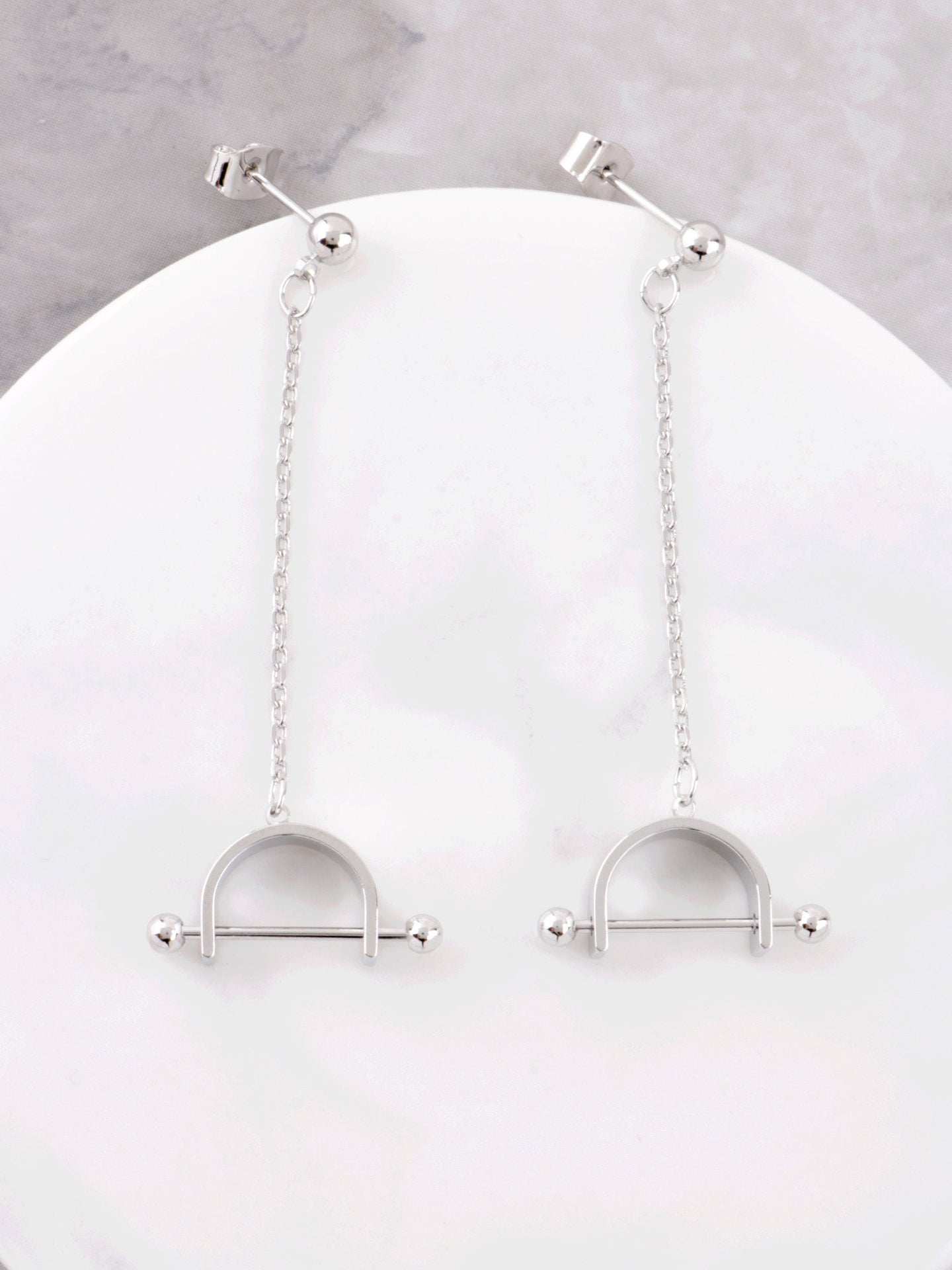 Barbell Chain Earrings Anarchy Street Silver