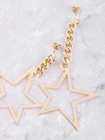 Asymmetrical Chain Star Earrings Anarchy Street Gold