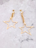 Asymmetrical Chain Star Earrings Anarchy Street Gold - Details