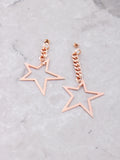 Asymmetrical Chain Star Earrings Anarchy Street Rosegold - Details
