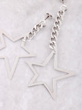 Asymmetrical Chain Star Earrings Anarchy Street Silver