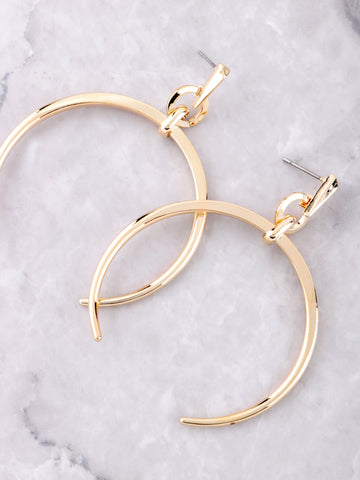 Crescent Horn Earrings Anarchy Street Gold - Details