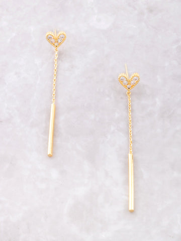 Love Heart Hanging Stud Earrings Anarchy Street Gold - Details