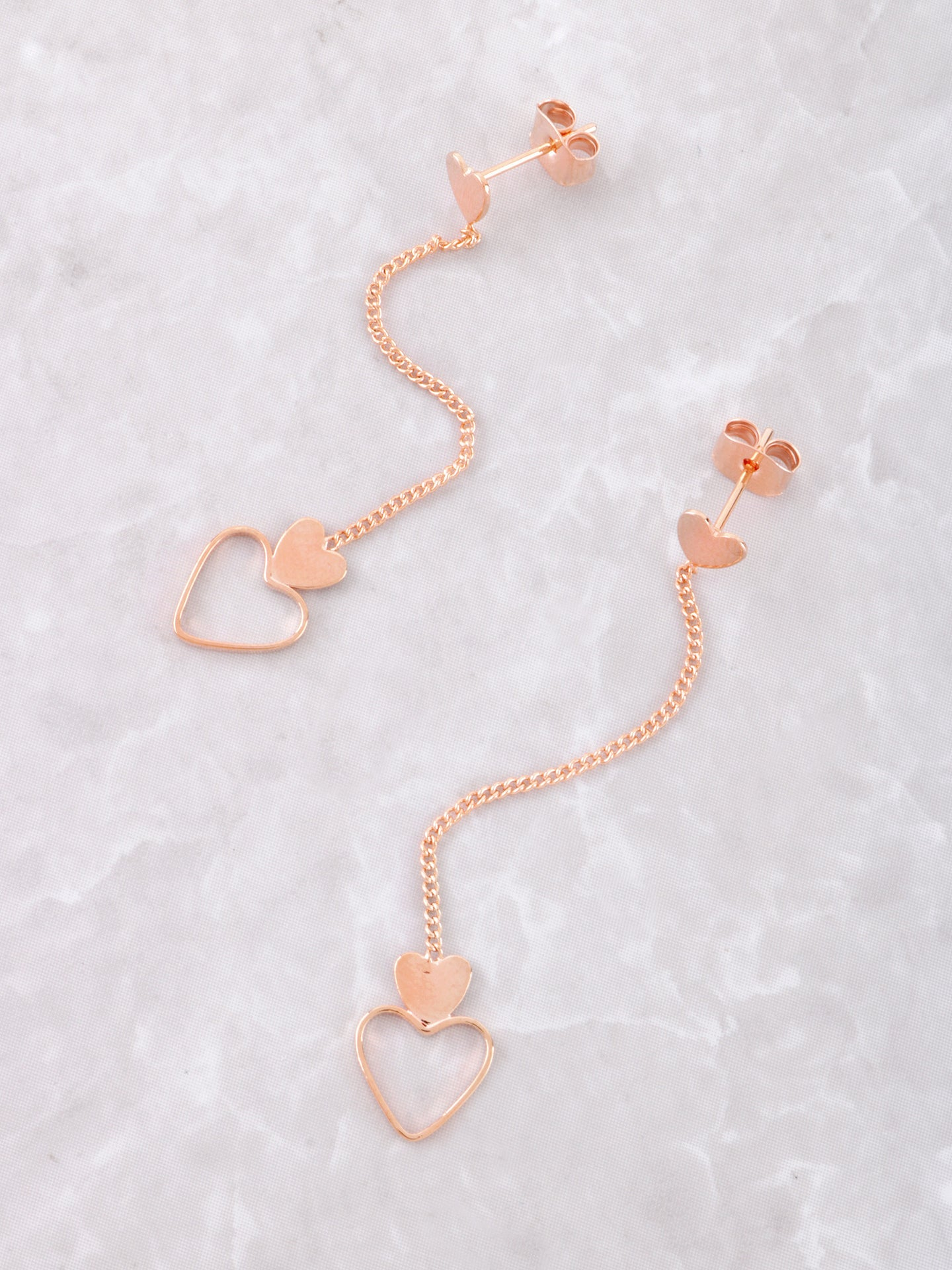 Hanging Hearts Earrings Anarchy Street Rosegold