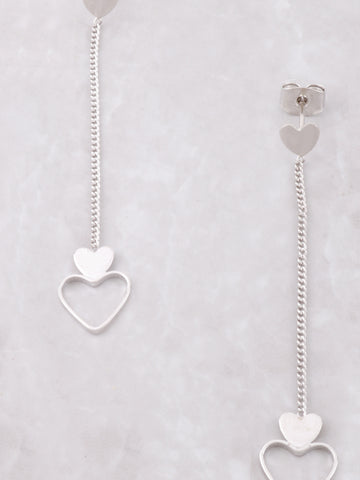 Hanging Hearts Earrings Anarchy Street Silver - Details
