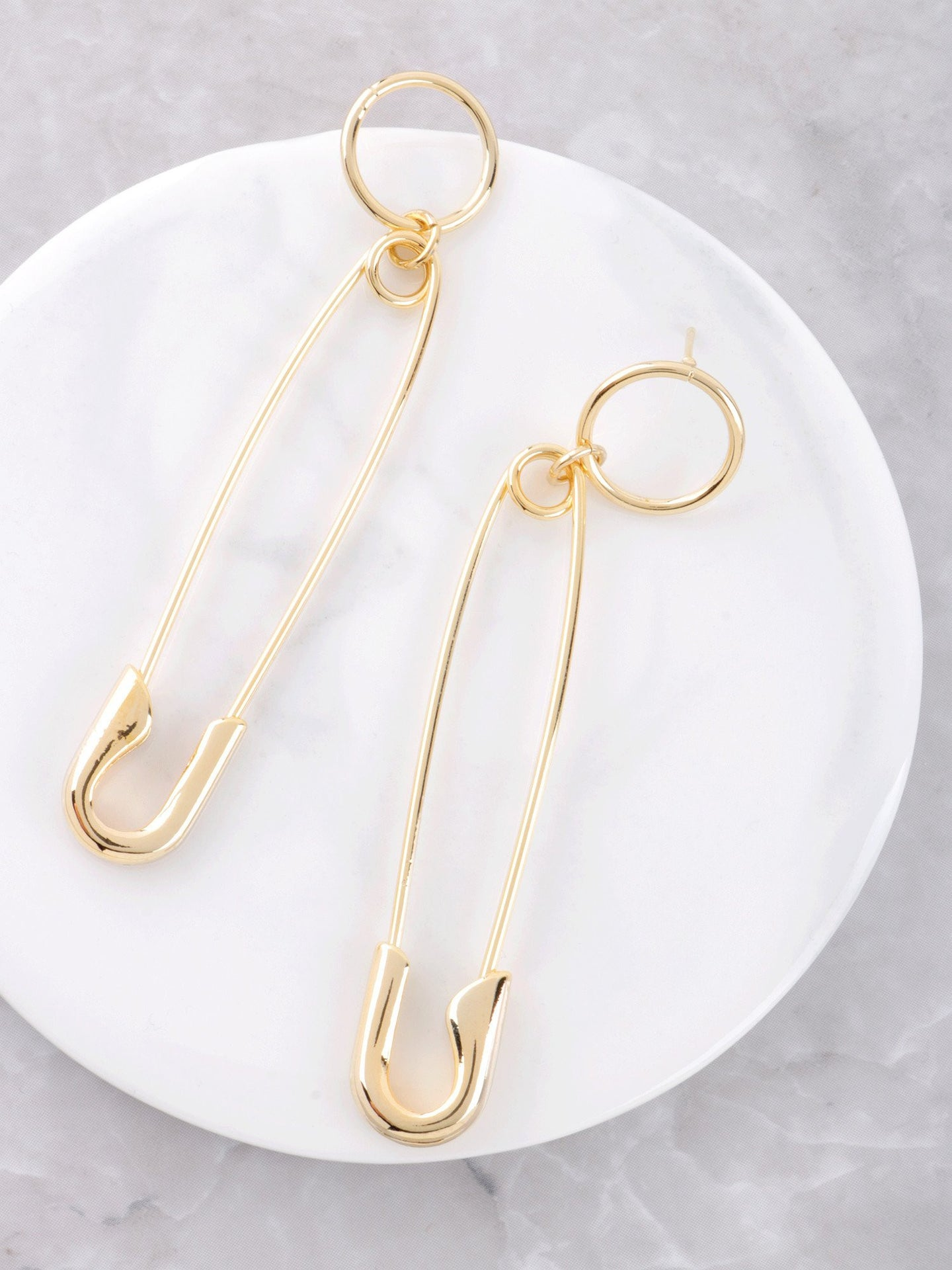 Loop Safety Pin Earrings Anarchy Street Gold