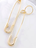 Loop Safety Pin Earrings Anarchy Street Gold - Details