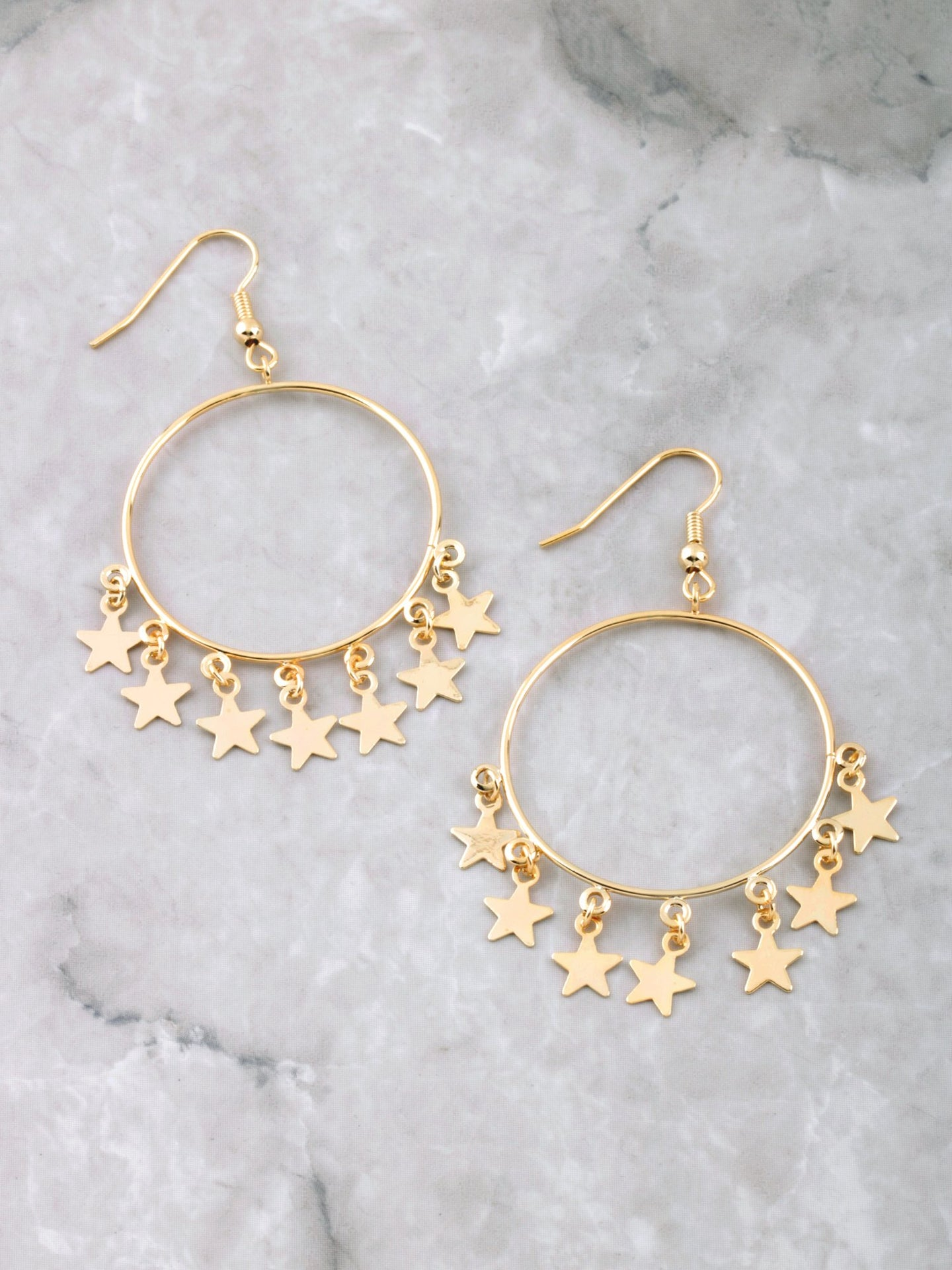 Hanging Stars Hoop Earrings Anarchy Street Gold