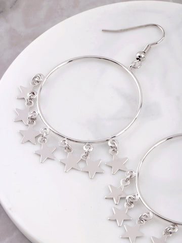 Hanging Stars Hoop Earrings Anarchy Street Silver - Details