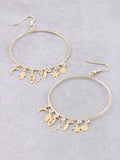 Protect Me Charm Hoop Earrings Anarchy Street Gold - Details