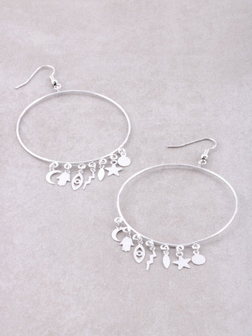 Protect Me Charm Hoop Earrings Anarchy Street Silver - Details