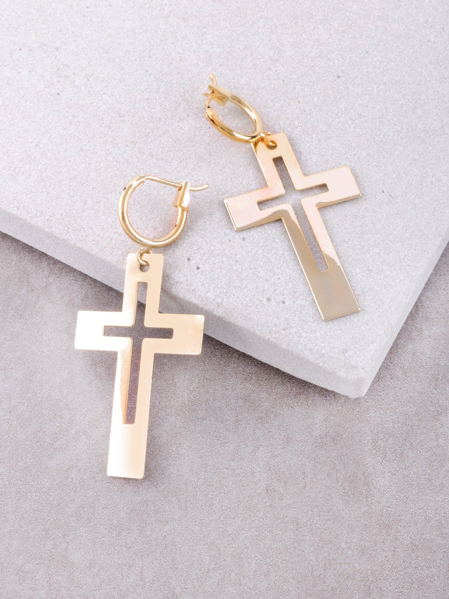 Cut Out Cross Hoop Huggie Earrings Anarchy Street Gold