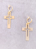 Cut Out Cross Hoop Huggie Earrings Anarchy Street Gold - Details