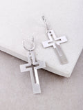 Cut Out Cross Hoop Huggie Earrings Anarchy Street Silver