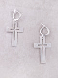 Cut Out Cross Hoop Huggie Earrings Anarchy Street Silver - Details