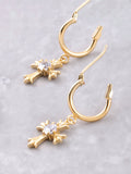 Small Cross Hoop Huggie Earrings Anarchy Street Gold - Details