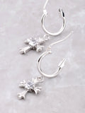 Small Cross Hoop Huggie Earrings Anarchy Street Silver - Details
