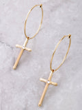 Cross Small Hoop Earrings Anarchy Street Gold
