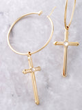 Cross Small Hoop Earrings Anarchy Street Gold - Details