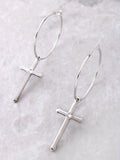 Cross Small Hoop Earrings Anarchy Street Silver
