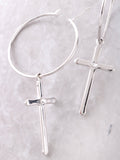 Cross Small Hoop Earrings Anarchy Street Silver - Details