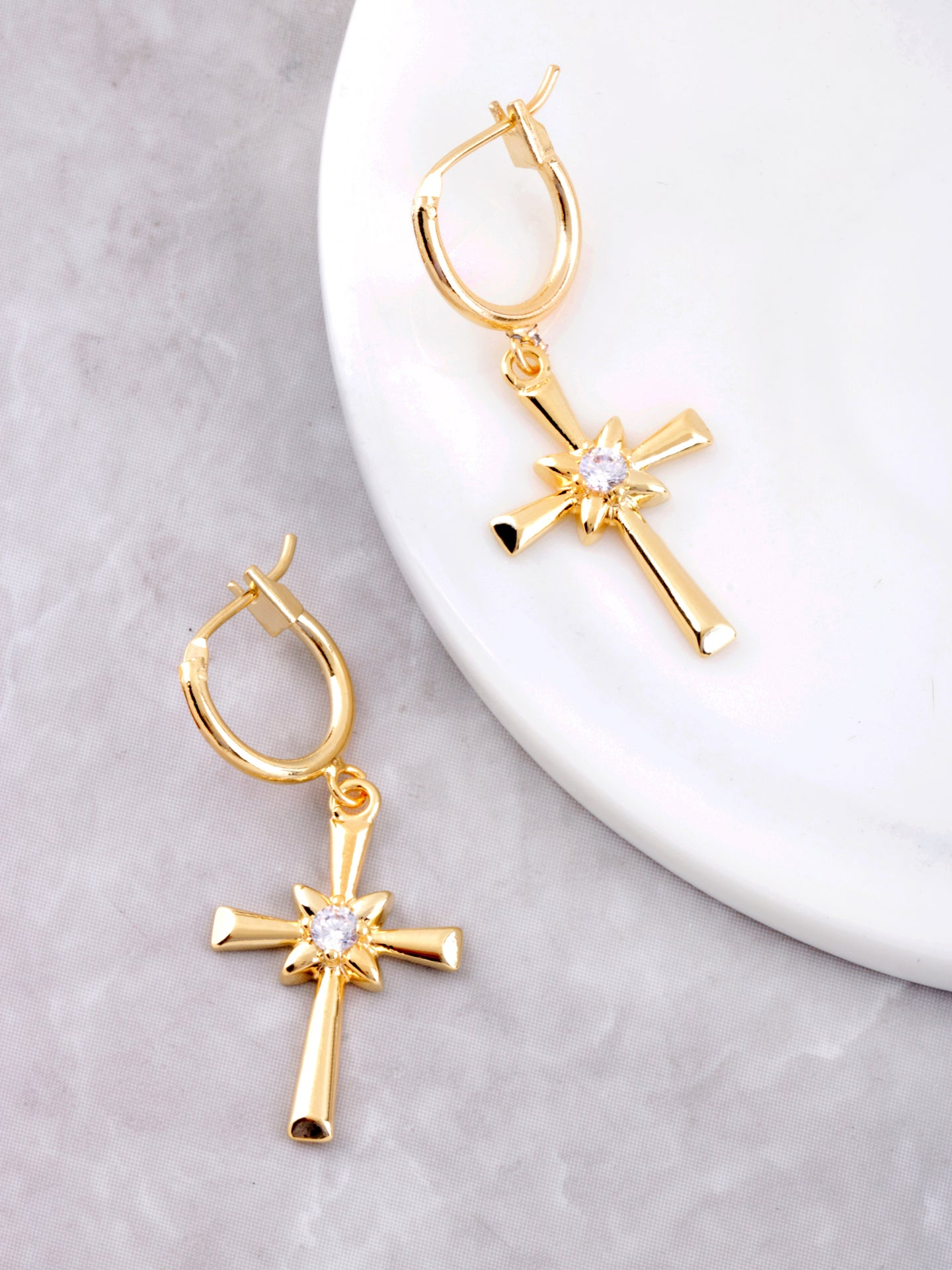 Large Cross Hoop Huggie Earrings