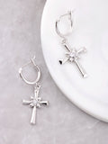 Large Cross Hoop Huggie Earrings Anarchy Street Silver