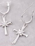 Large Cross Hoop Huggie Earrings Anarchy Street Silver - Details