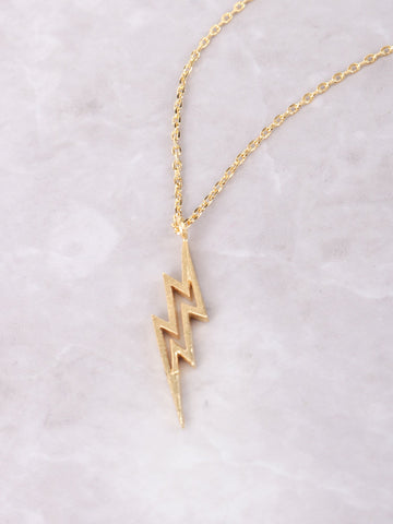 Lightning Bolt Necklace Anarchy Street Gold - Details