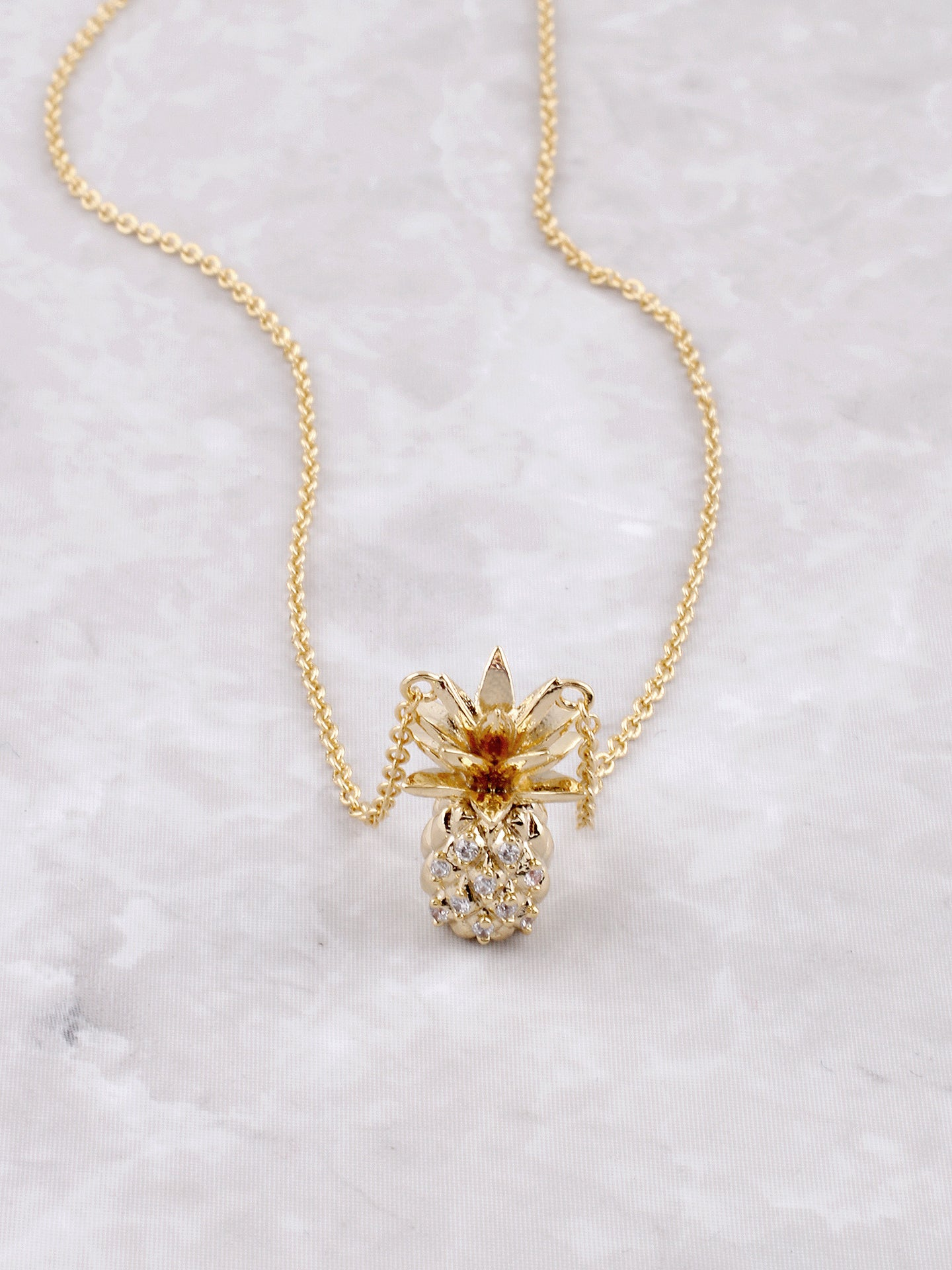 Pave Pineapple Pendant Necklace Anarchy Street Gold