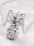 Pave Pineapple Pendant Necklace Anarchy Street Silver - Details