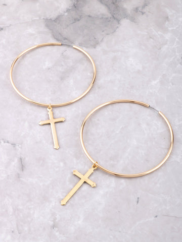 Cross Large Hoop Earrings Anarchy Street Gold