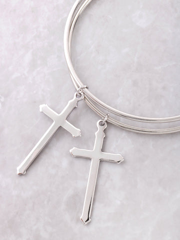 Cross Large Hoop Earrings Anarchy Street Silver - Details