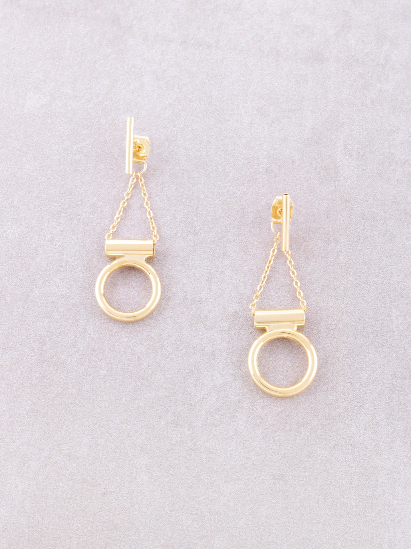 Hanging Circle Chain Stud Earrings Anarchy Street Gold