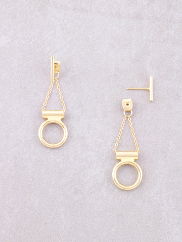 Hanging Circle Chain Stud Earrings