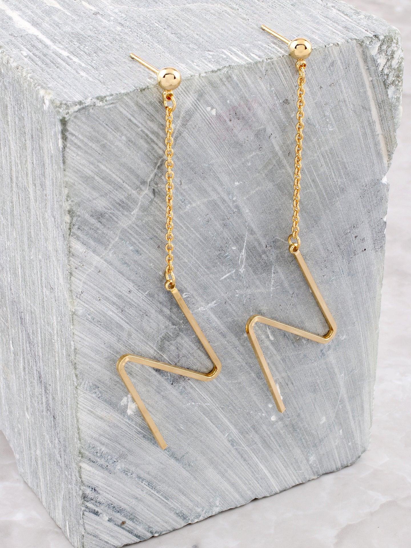 Zig Zag Dangle Earring Anarchy Street Gold