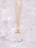 Pave Initial Letter Necklace Anarchy Street Gold- A