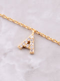 Pave Initial Letter Necklace Anarchy Street Gold - Details- A