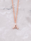 Pave Initial Letter Necklace Anarchy Street Rose Gold- A