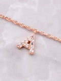 Pave Initial Letter Necklace Anarchy Street Rose Gold - Details- A