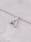 Pave Initial Letter Necklace Anarchy Street Silver - Details- A