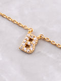 Pave Initial Letter Necklace Anarchy Street Gold - Details- B